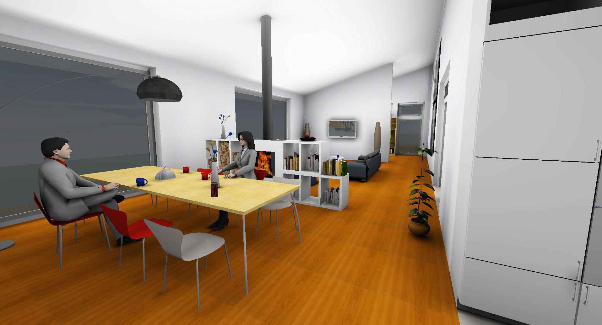 egn Architekten Einfamilienhaus Neubau KfW Innenraum Perspektive 3d ...